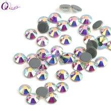 QIAO Hot fix dżetów kryształy termoprzylepne do naprasowania ubrań kryształ wysokiej jakości AB gorący powrót Nail Art szklany kamień стразы для ногтей