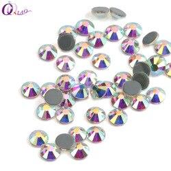 QIAO diamantes de imitación de hierro sobre diamantes de imitación para ropa de alta calidad SS10 SS12 SS16 SS20 SS30 Cristal AB piedra de cristal posterior caliente