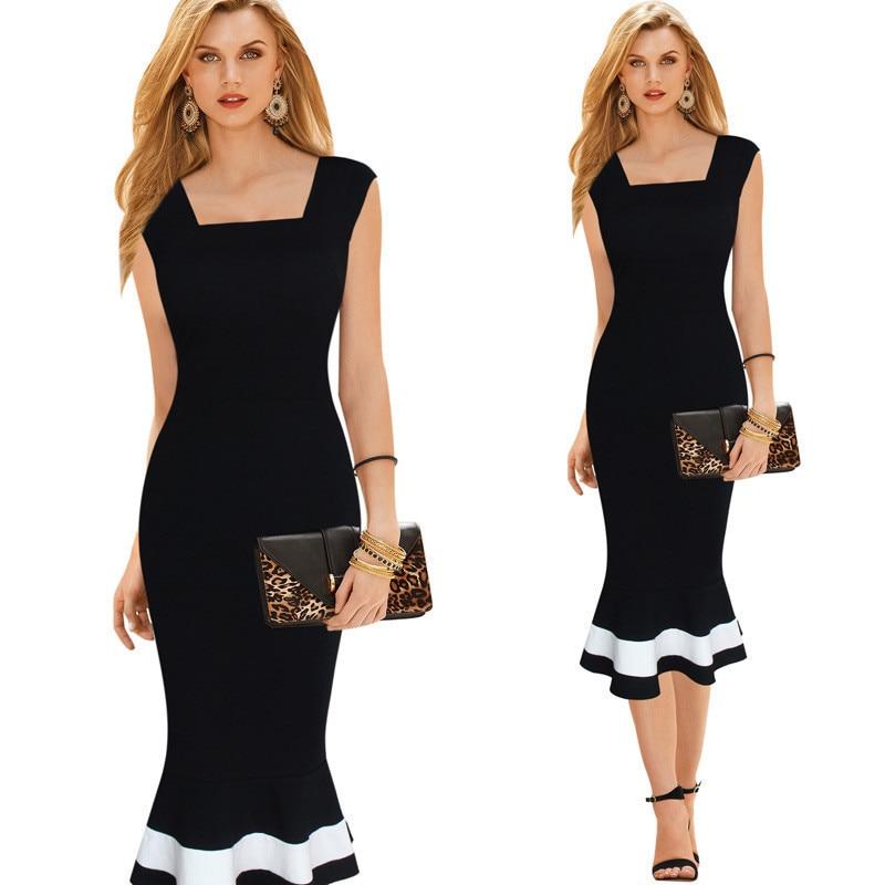 BacklakeGirls 2020 Elegant Knee-length Mermaid Dresses Simple Black White Stripe Evening Party Dress Robe Cocktailjurk