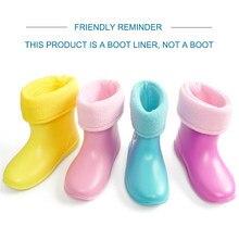 Crianças botas de chuva algodão forro meias inverno veludo à prova dwaterproof água quente sapatos removível forro meias para menina menino crianças
