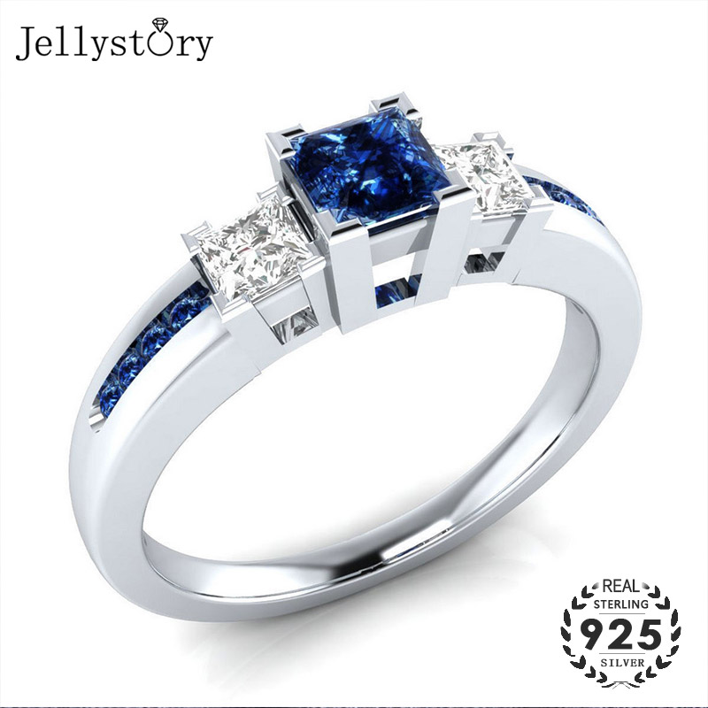 Jellystory Classic Women Ring 925 Silver with Sapphire Emerald Amethyst Gemstone Jewelry Wedding Party Gifts size 6-10 wholesale(China)