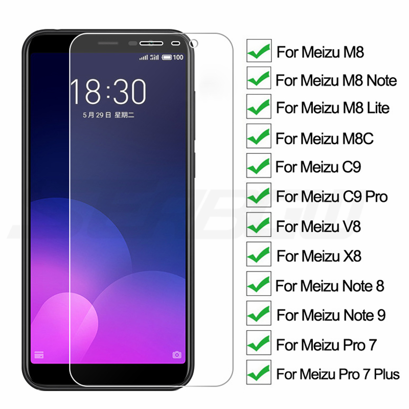 9H Protective Glass On The For Meizu C9 Pro M8 Lite M8C X8 M8 Note 8 9 V8 Pro 7 Plus Tempered Screen Protector Glass Film Case