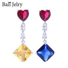 BaliJelry Fashion Women kolczyki ze srebra próby 925 akcesoria do biżuterii geometryczny Topaz kamień spadek kolczyk na wesele przyjęcie zaręczynowe