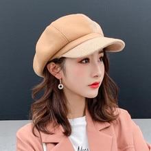 Hat Beret-Cap Octagonal Retro Autumn Women Winter Wool Plaid Warm Thick Unisex High-Quality