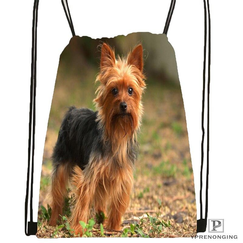 Custom Yorkshire-terrier-dog @01-Drawstring Backpack Bag Cute Daypack Kids Satchel (Black Back) 31x40cm#180611-03-126