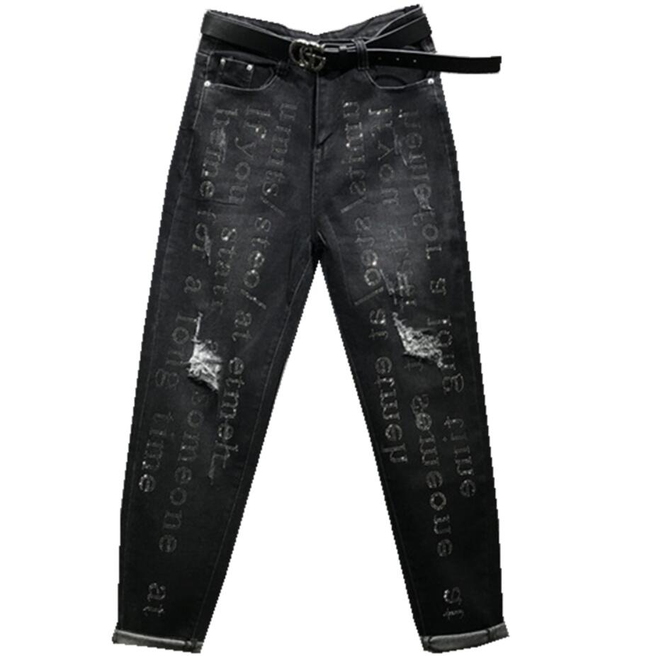High Waist Jeans Women Autumn New Heavy Industry Letters Hot Drilling Loose Hole Harem Pants