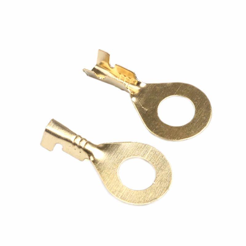 100 Uds 3,2-6,2mm Cable de anillo no aislado terminales surtido de conectores de Cable de conector desnudo Kit de terminales de latón
