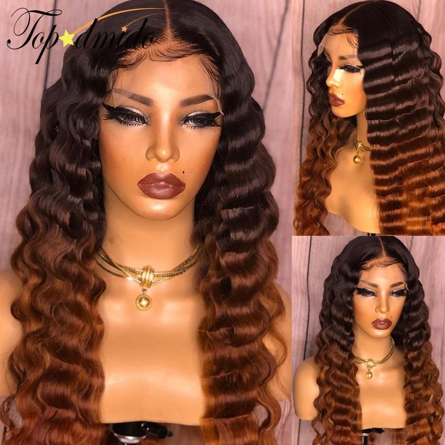 Topodmido onda profunda 13x6 perucas do cabelo humano da parte dianteira do laço com cabelo do bebê pré-arrancado ombre cor marrom cabelo brasileiro perucas dianteiras do laço