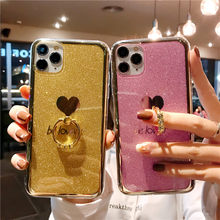 Phone Case For Huawei Nova 4 5 5i 6 P20 P30 Mate 20 30 Pro Clear Glitter Powder Love Heart With Diamond Stand Plated Edge Capa(China)