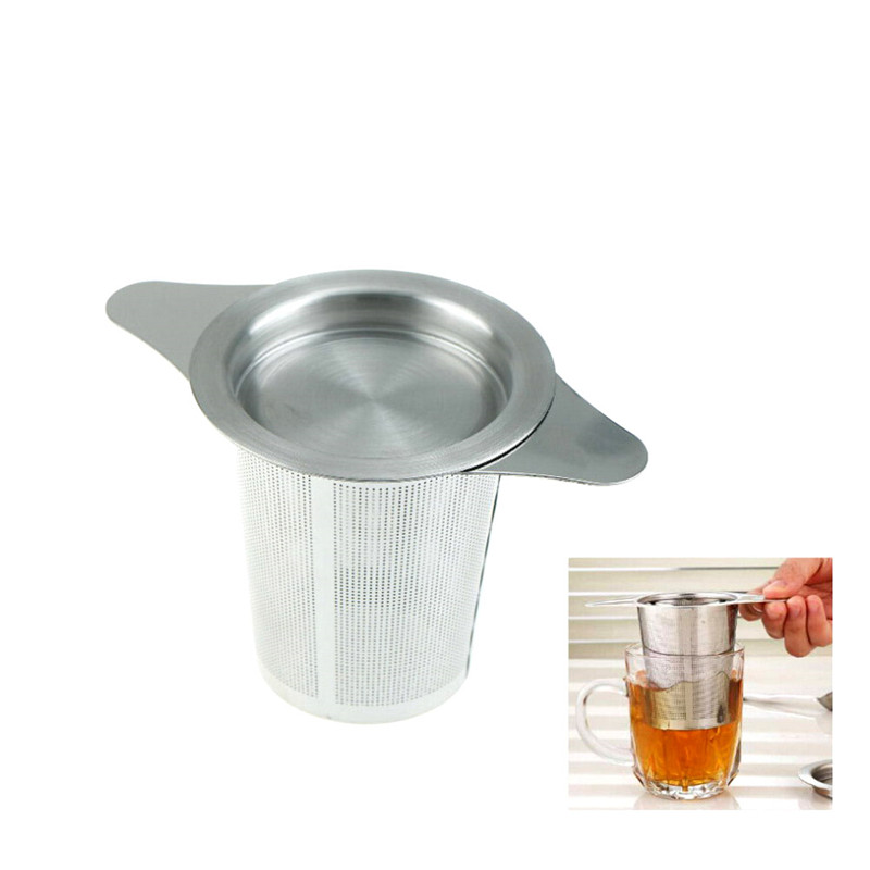1pc Stainless Steel Tea Infuser Basket Fine Mesh Tea Strainer With 2 Handles Lid Tea Filters