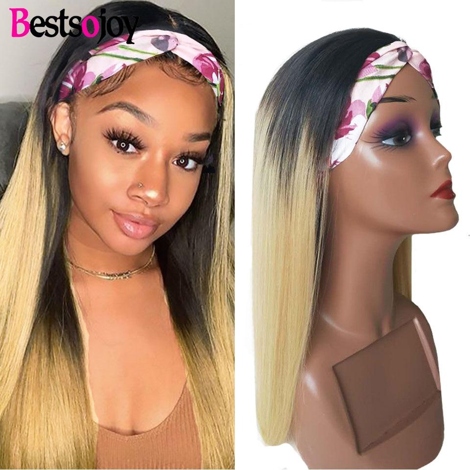 Straight Hair Wig Human Hair 1b/27 Color Headband Wig Human Hair Full Machine Made Brazilian Hair Wigs Straight Hair 180 Density