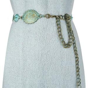 Image 1 - Badinka 2020 New Summer Vintage Metal Waist Chain Belt Female Boho Style Waistband Belts for Women Dresses Cinturon Mujer