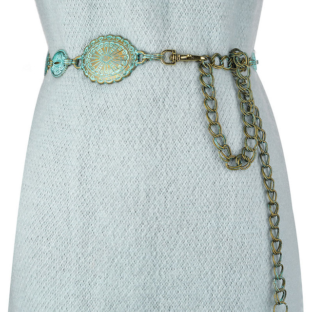 Badinka 2020 New Summer Vintage Metal Waist Chain Belt Female Boho Style Waistband Belts for Women Dresses Cinturon Mujer