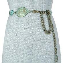Женский винтажный пояс Badinka, винтажный пояс с металлической цепочкой на талии, пояс в стиле бохо, новинка 2020