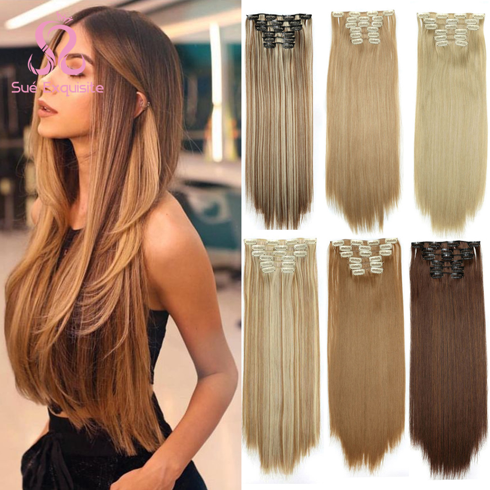SUe EXQUISITE Clip in Hair Extension 16 Clips Blond Long  22inches  Straight Synthetic Heat Resistant Hairpiece Color for Women