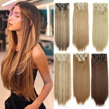 SUe exquisito Clip en la extensión del pelo 16 Clips largo Rubio 22 pulgadas sintético recto postizo resistente al calor de Color para las mujeres
