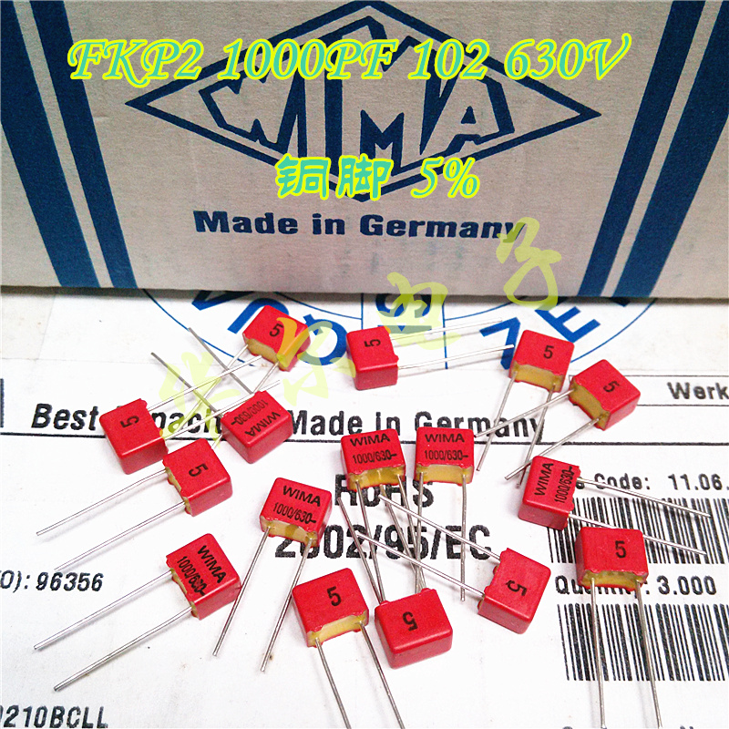 20PCS NEW RED WIMA FKP2 1nF/630V 102/630V 1000P PCM5 Audio Hot Sale FKP-2 102 1NF 0.001UF 1000PF 630V
