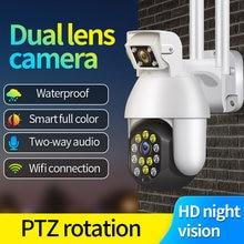 1080p lente dupla segurança wifi ip cctv câmera de segurança sem fio ao ar livre à prova dptz água casa ptz ir cam wifi câmera detecção movimento