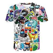 Komik oyun arasında biz üstleri 4-16T çocuk Boys T-Shirt Impostor grafik çocuk üstleri 3D karikatür gömlek yaz kısa kollu serin tişört