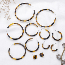 Acrylic Tortoiseshell Earrings Geometric Round Hoop for Women Boho Vintage Jewelry Earings Fashion Brincos