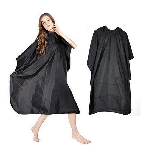 Adult Black Salon Hair Hairdressing Cutting Cape Barbers Shop Gown Cloth Cover Waterproof Durable Hairdresser Gown image