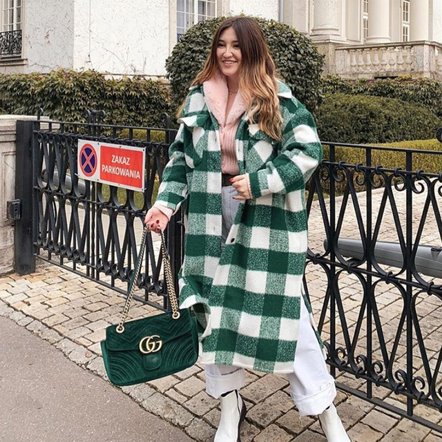 2020 New Fall Winter Women Oversized Coat Long Checked Casual Fashion Chic Women Jackets Long windbreaker Outfits 2