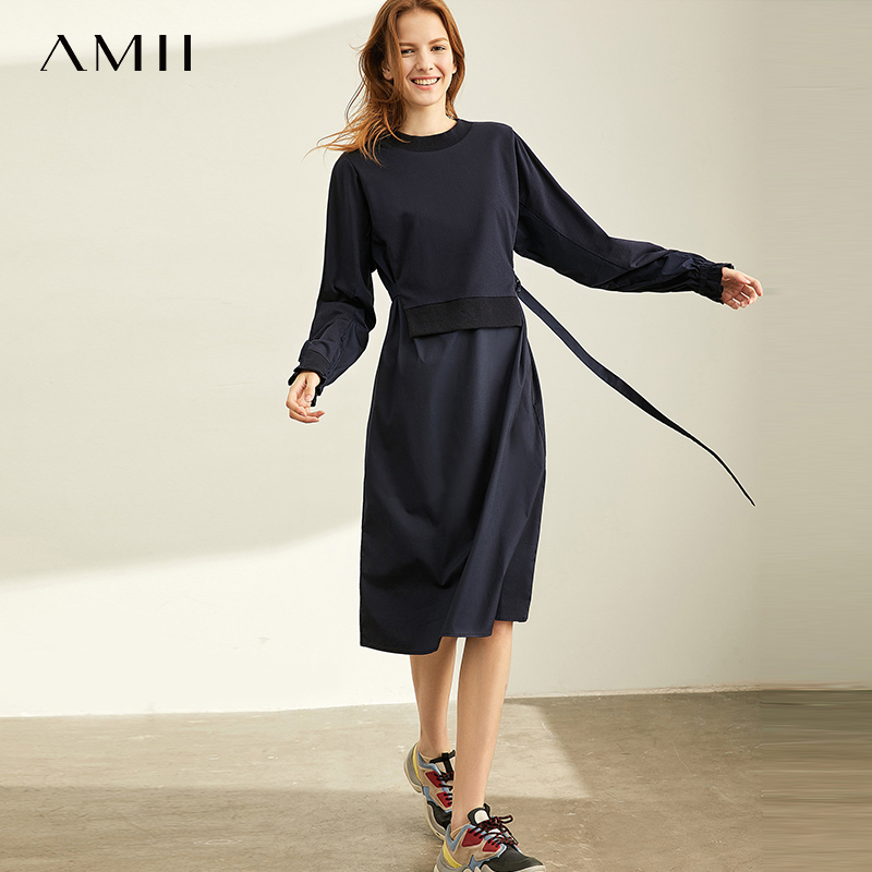 Amii Minimal Casual Dress In Western Style Fall 2019 New Loose Round Neck Fake Two Piece Mid-length Dress 11970283