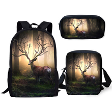 HaoYun Fashion Kids 3PCs/Set School Backpack Fantasy Deer Pattern Bags Kawaii Animal Students Backpack/Flaps Bag/Pen