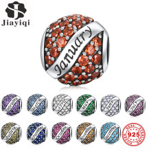Jiayiqi 925 Sterling Silver 12 Color Birthday Month Beads Fit Necklace Charms Bracelet DIY Birthday Gift Silver 925 Jewelry(China)