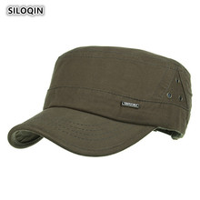SILOQIN 2019 Summer Autumn Mens New Cotton Military Hats Adjustable Leisure Sunscreen Flat Cap Tourism Mountaineering Casquette