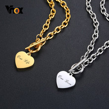 Vnox Women Personalize Love Name Necklaces for Men Stainless Steel Link Chain with Heart Coin Charm Custom Unisex Gifts(China)