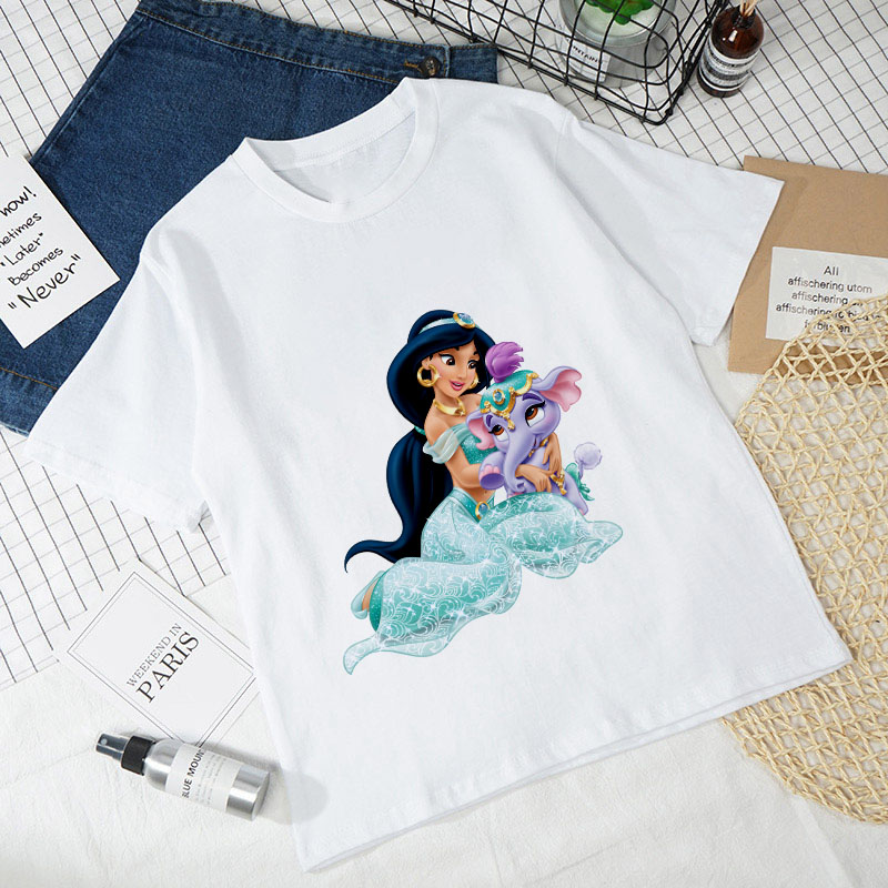 Fashion Hipster T-shirt Female Harajuku Aesthetics Thin Section Tees Tops Clothing T Shirt Women Aladdin New Summer White Tshirt
