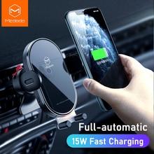 Mcdodo 15 w rápido qi titular do telefone carro sem fio carregador automático gravidade clipe de ventilação ar suporte para iphone 11 x huawei xiaomi no carro