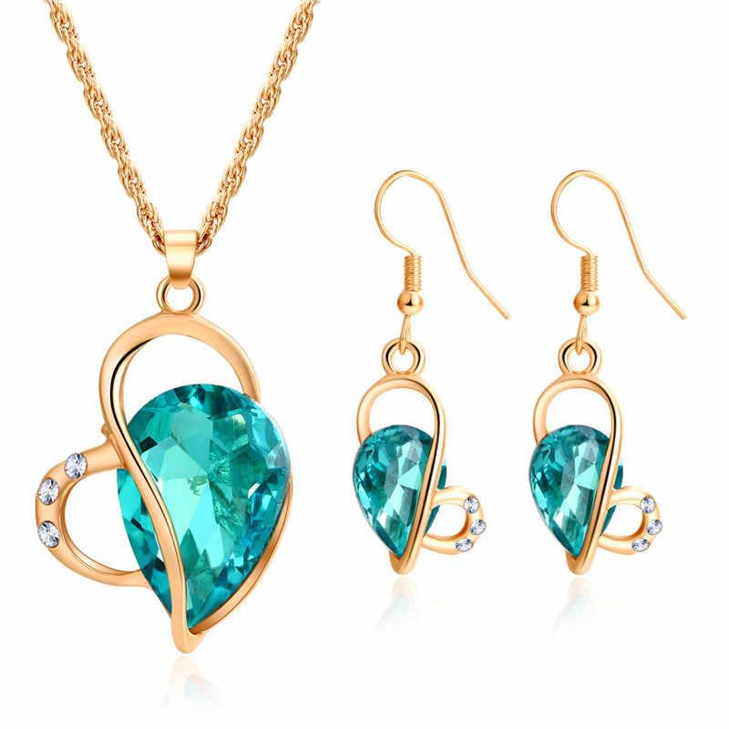 Mode cristal Zircon pendentif collier goutte boucle d'oreille pour les femmes à la mode or argent collier boucle d'oreille ensemble de bijoux nouveau parti bijoux