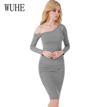WUHE Women Sexy Stylish Bodycon Dress Elegant Slanted Shoulder Long Sleeve Hollow Out Femme Autumn Casual Party Dresses