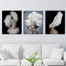 Frameless Best Wallpaper Abstract Feather Flower Woman Canvas Painting