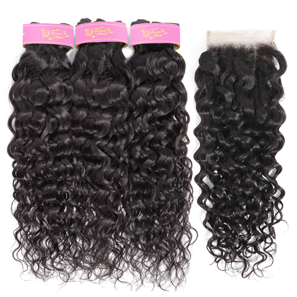 Water Wave 3 Bundles With Closure 100% Remy Hair Extension Brazilian Hair Weave Bundles With Closure Nadula Hair With Closure