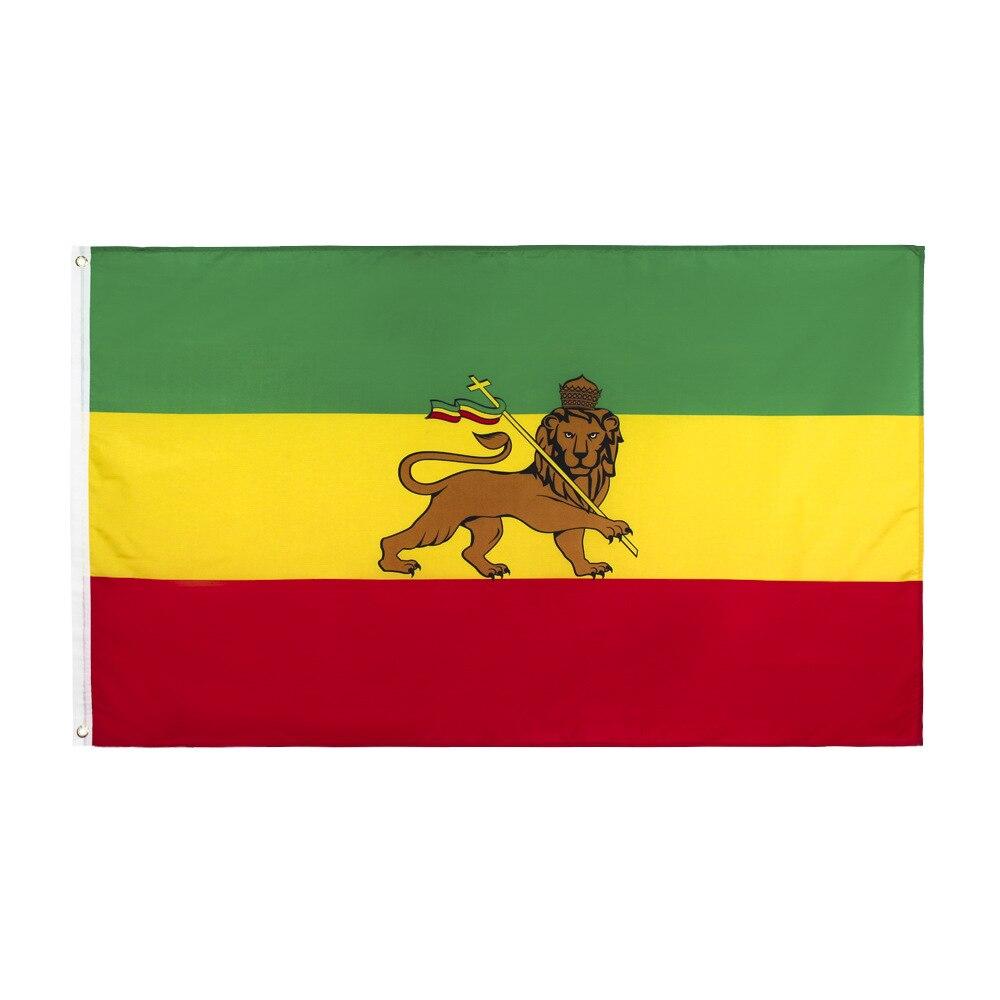 Ethiopian Lion Flag of Judah Ethiopian Rastafari Rasta Reggae Flag 150* 90cm 3ft x 5ft Custom Banner Metal Holes Grommets