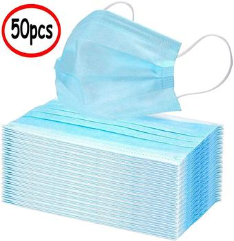 50 sztuk włóknina jednorazowa maska na twarz 3 warstwy wiszące ucho filtr pyłowy bezpieczeństwo elastyczne twarzy pyłoszczelne maski ochronne N95 maska tanie i dobre opinie Chin kontynentalnych Bakterie Dowód KF94 Jeden raz Dla dorosłych 12321