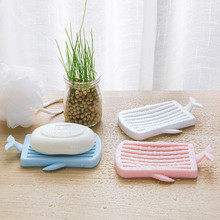 Bathroom Flexible Soap Dishes Creative Eco-friendly Drain Holder Tray Storage Case Whale Shape