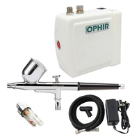 OPHIR Dual Action Airbrush Kit with Mini Air Compressor for Nail Art Tools Temporary Tattoo Makeup Pro Airbrush Body Paint Set