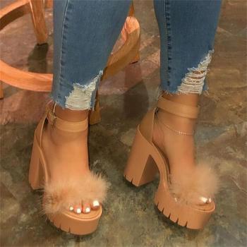 Fashion Women Shoes Sandalias Mujer Summer Sandals Female Buckle Strap Furry Chunky High Heel Sexy Girls Sandals Nightclub Party