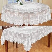 MESA DE NAVIDAD cubierta de tela blanco Encaje Vintage mantel fiesta en casa de Navidad decoración cuadrado redondo mantel para mesa de café