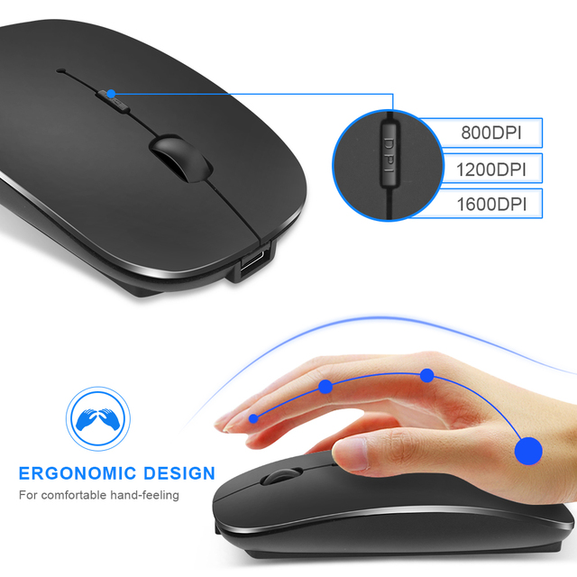 Mouse Senza Fili Del Computer Bluetooth Del Mouse Silenzioso Pc Mause Ricaricabile Mouse Ergonomico 2.4Ghz Usb Mouse Ottico per Il Computer Portatile Del Pc 3