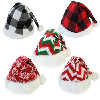 Czapki bożonarodzeniowe krata wzór w kształcie płatka śniegu ciepła czapka kostium świętego mikołaja akcesoria czapka dla dzieci dekoracje świąteczne noworoczny prezent 2021 tanie i dobre opinie ZQNYCY CN (pochodzenie) Włókniny tkaniny ZY8201X
