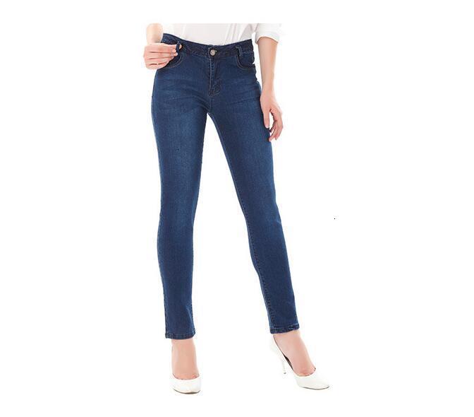 Женские джинсы с высоким хвостом, синие эластичные Длинные обтягивающие тонкие джинсы, женские джинсы, размер 28-40
