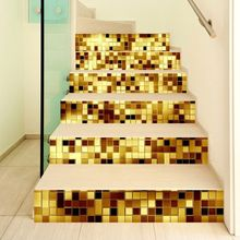6pcs/set 3D Staircase Stair Riser Floor Sticker Self Adhesive DIY Stairway Waterproof PVC Wall Decal