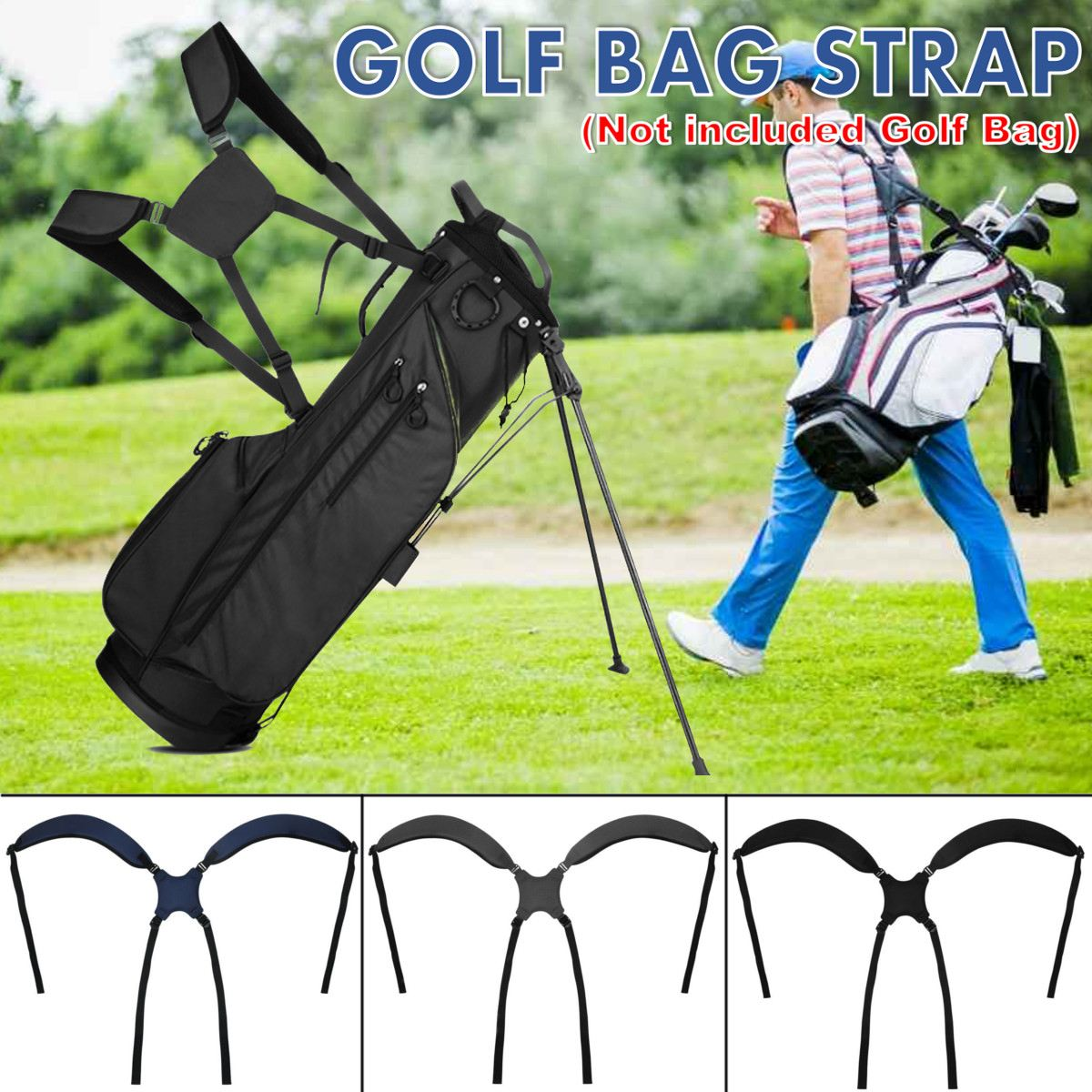 Portable Golf Shoulder Strap PaddedFor Carry Bag Foldable Easy Multi Colors Ajustable Lightweight Replacement Accessories 1