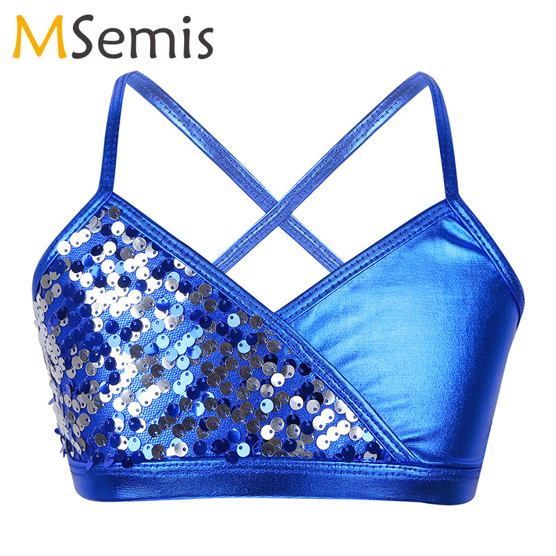 Kids Girls Shiny Sequins Metallic Tanks Bra Tops Spaghetti Shoulder Straps Crop Top For Ballet Dance Stage Performance Workout