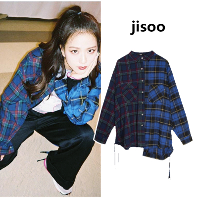 Kpop Blackpink Jisoo Same Blue Retro Style Personality Casual Loose Shirts Women Autumn Streetwear Fashion Loose Blouse And Tops